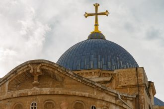 Tall dome on Church of the Holy Sepulchre Jerusalem, Israel